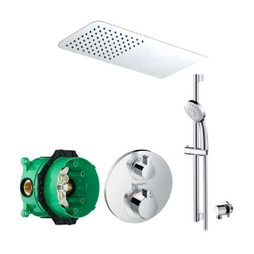 Abacus Emotion Plus Thermostatic Concealed Shower Kit With Rectangle Shower Head